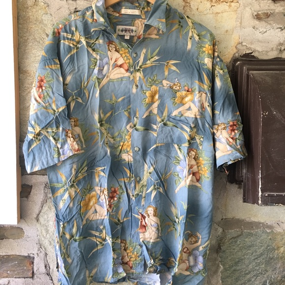 b82e824a Shirts | Lady Print Hawaiian Print Party Shirt Mens Xl | Poshmark